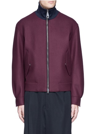 Main View - Click To Enlarge - WOOYOUNGMI - Jersey collar bonded wool bomber jacket