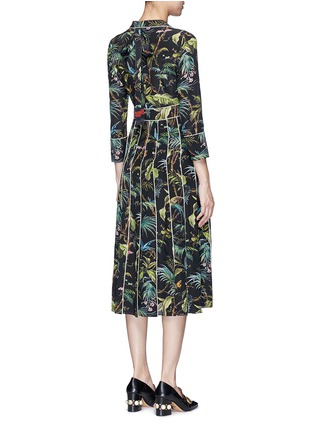 Back View - Click To Enlarge - Gucci - Dragonfly embellished tropical print silk dress