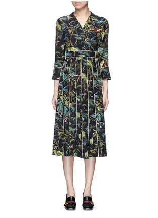 Main View - Click To Enlarge - Gucci - Dragonfly embellished tropical print silk dress