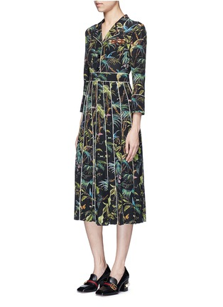 Figure View - Click To Enlarge - Gucci - Dragonfly embellished tropical print silk dress