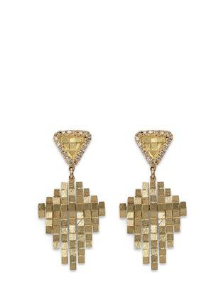 Main View - Click To Enlarge - Jo Hayes Ward - 'Kite Stratus Rain Drop' diamond 18k yellow gold earrings