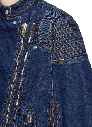 Detail View - Click To Enlarge - Givenchy - Quilted shoulder denim cape jacket