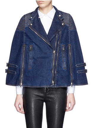 Main View - Click To Enlarge - Givenchy - Quilted shoulder denim cape jacket