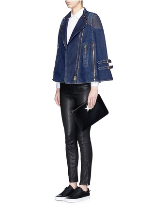 Figure View - Click To Enlarge - Givenchy - Quilted shoulder denim cape jacket