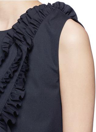 Detail View - Click To Enlarge - Dries Van Noten - 'Clara Bis' ruffle pinstripe cotton-wool sleeveless top