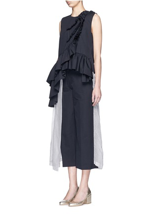 Figure View - Click To Enlarge - Dries Van Noten - 'Clara Bis' ruffle pinstripe cotton-wool sleeveless top