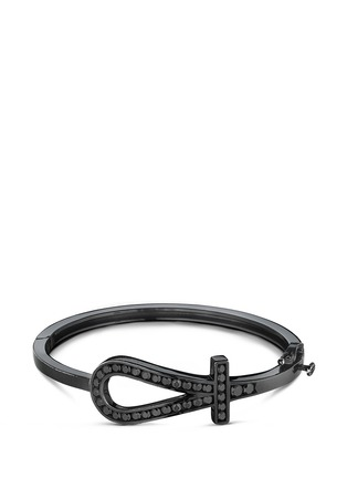 Main View - Click To Enlarge - Lynn Ban - 'Ankh' diamond black rhodium silver bangle