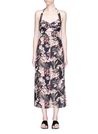 Main View - Click To Enlarge - Zimmermann - 'Curacao Palm' print halterneck long dress