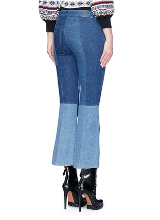 Back View - Click To Enlarge - Alexander McQueen - Patchwork cropped flared denim pants