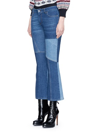 Front View - Click To Enlarge - Alexander McQueen - Patchwork cropped flared denim pants
