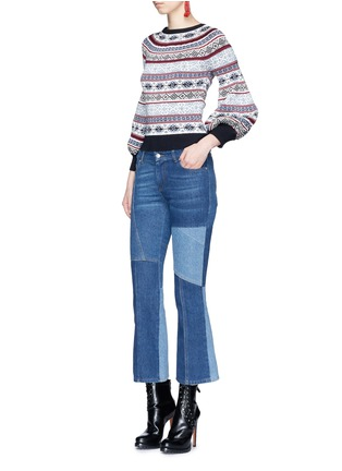 Figure View - Click To Enlarge - Alexander McQueen - Patchwork cropped flared denim pants