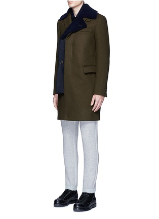 Front View - Click To Enlarge - Sacai - Shearling underlay wool military coat