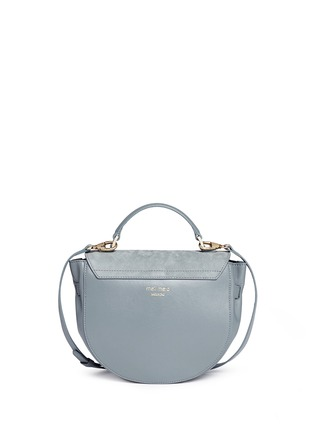 Back View - Click To Enlarge - Meli Melo - 'Ortensia' suede flap leather saddle bag