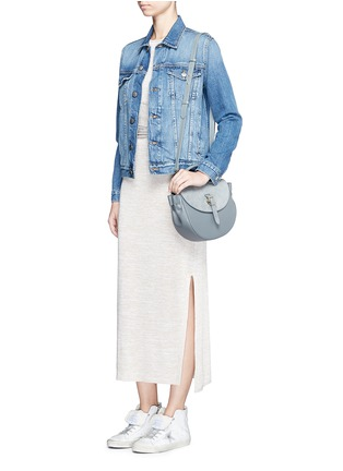 Figure View - Click To Enlarge - Meli Melo - 'Ortensia' suede flap leather saddle bag