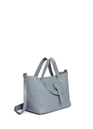 Front View - Click To Enlarge - Meli Melo - 'Thela' medium woven effect leather trapeze tote