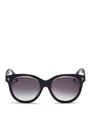 Main View - Click To Enlarge - Alexander McQueen - Floating skull stud acetate round sunglasses