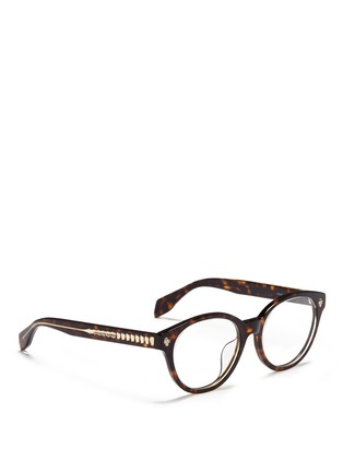 Figure View - Click To Enlarge - Alexander McQueen - Floating skull stud tortoiseshell acetate optical glasses