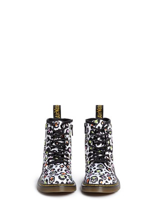 Figure View - Click To Enlarge - Dr. Martens - 'Delaney' skull leopard print canvas junior boots