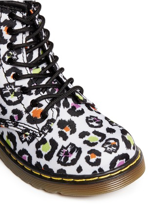 Detail View - Click To Enlarge - DR. MARTENS - 'Brooklee' skull leopard print canvas toddler boots