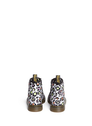 Back View - Click To Enlarge - DR. MARTENS - 'Brooklee' skull leopard print canvas toddler boots