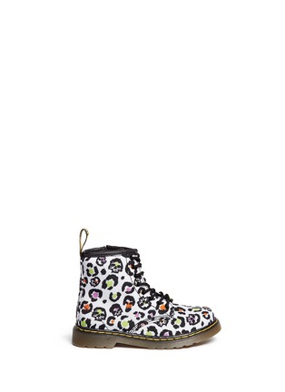Main View - Click To Enlarge - DR. MARTENS - 'Brooklee' skull leopard print canvas toddler boots