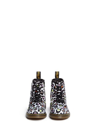 Figure View - Click To Enlarge - DR. MARTENS - 'Brooklee' skull leopard print canvas toddler boots