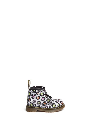 Main View - Click To Enlarge - Dr. Martens - 'Brooklee B' skull leopard print canvas infant boots