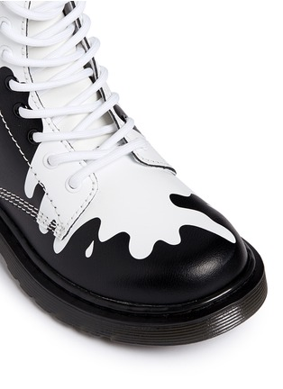 Detail View - Click To Enlarge - Dr. Martens - 'Delaney' paint splat print leather junior boots