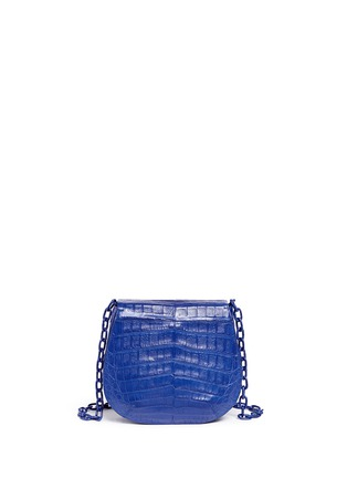 Back View - Click To Enlarge - Nancy Gonzalez - Crocodile leather interchangeable strap round crossbody bag