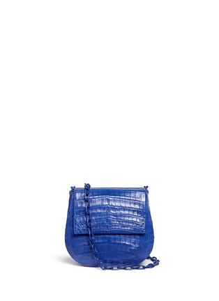 Main View - Click To Enlarge - Nancy Gonzalez - Crocodile leather interchangeable strap round crossbody bag