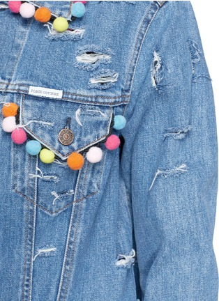 Detail View - Click To Enlarge - FORTE COUTURE - Pompom ripped cotton denim jacket