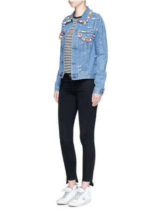 Figure View - Click To Enlarge - FORTE COUTURE - Pompom ripped cotton denim jacket