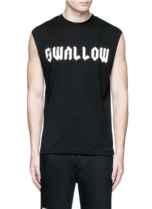 Main View - Click To Enlarge - McQ Alexander McQueen - 'Swallow' slogan print sleeveless T-shirt