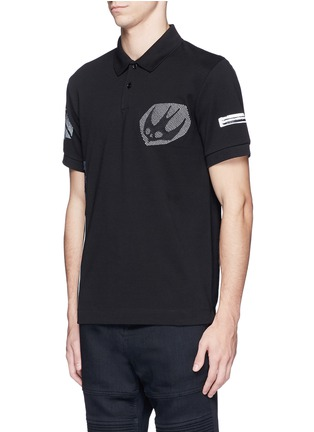 Front View - Click To Enlarge - McQ Alexander McQueen - 'Swallow' woodcut tribal print polo shirt
