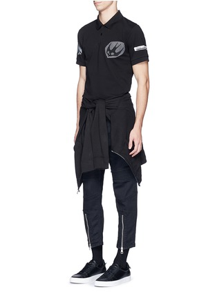 Figure View - Click To Enlarge - McQ Alexander McQueen - 'Swallow' woodcut tribal print polo shirt