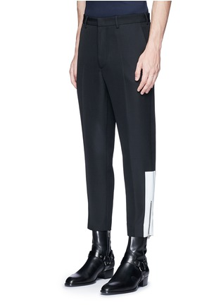 Front View - Click To Enlarge - McQ Alexander McQueen - 'Doherty' contrast zip cuff wool pants