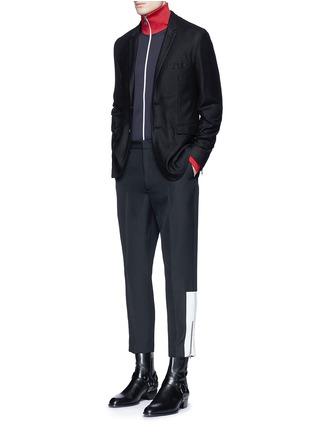 Figure View - Click To Enlarge - McQ Alexander McQueen - 'Doherty' contrast zip cuff wool pants