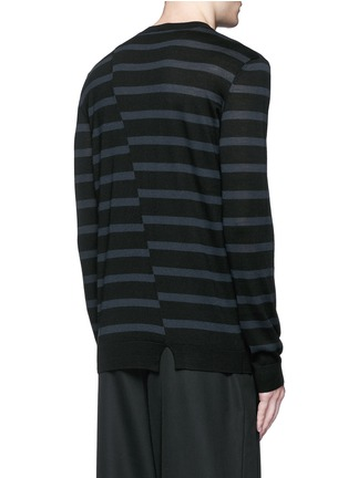 Back View - Click To Enlarge - MC Q - Distorted stripe wool sweater