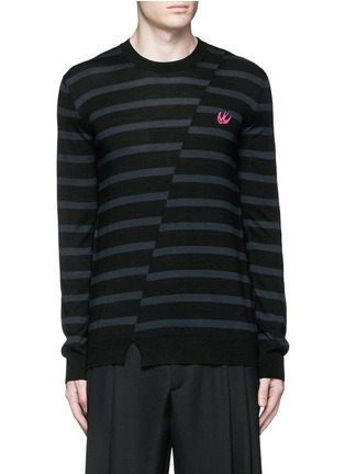 Main View - Click To Enlarge - McQ Alexander McQueen - Distorted stripe wool sweater