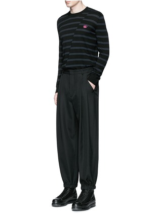 Figure View - Click To Enlarge - MC Q - Distorted stripe wool sweater