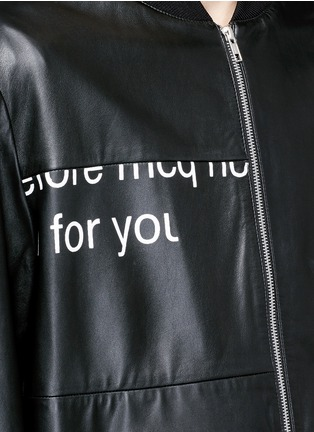 Detail View - Click To Enlarge - McQ Alexander McQueen - 'Haskins' slogan print lambskin leather jacket