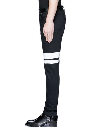 Detail View - Click To Enlarge - McQ Alexander McQueen - Leather waist painted stripe print strummer jeans