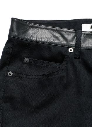 - MC Q - Leather waist painted stripe print strummer jeans