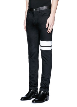 Front View - Click To Enlarge - McQ Alexander McQueen - Leather waist painted stripe print strummer jeans