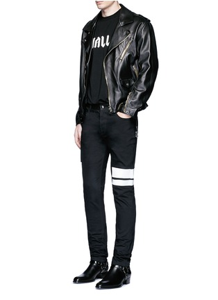 Figure View - Click To Enlarge - McQ Alexander McQueen - Leather waist painted stripe print strummer jeans