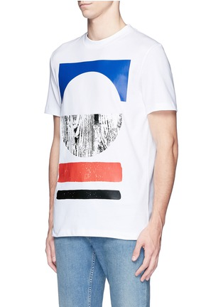 Front View - Click To Enlarge - McQ Alexander McQueen - Tribal woodcut block print T-shirt