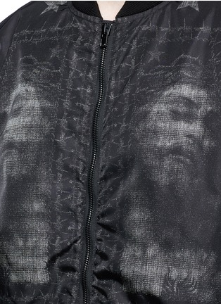 Detail View - Click To Enlarge - Givenchy - Barb wire Jesus print padded bomber jacket