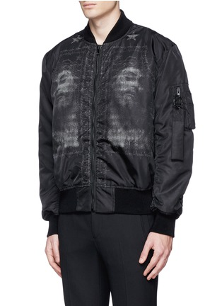 Front View - Click To Enlarge - Givenchy - Barb wire Jesus print padded bomber jacket