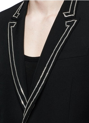 Detail View - Click To Enlarge - Givenchy Beauty - Curb chain piping virgin wool blazer