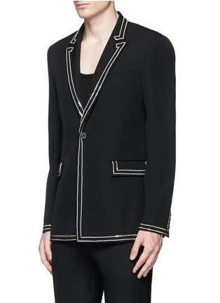 Front View - Click To Enlarge - Givenchy Beauty - Curb chain piping virgin wool blazer